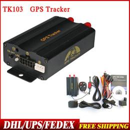 Wholesale Band Sensor - 10pcs lot DHL EMS Shipping New TK103 B With Dual Remote Control And Shock Sensor Quad Band GPS103 PC&Web-Based GPS System
