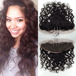 Wholesale Hair Color Beyonce - 8A beyonce curl water curly wave virgin human hair lace frontal 100% Non processed top closure