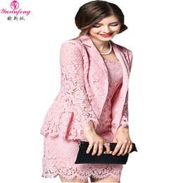 Wholesale Pink Lace Blazer - Wholesale-New Women Skirt Suit 2pcs Women Lace Sets Office Jacket Blazer Skirt Suit Women Lace Jacket+Lace Skirt Pink ladies Skirt Sets