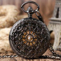 Wholesale Number Hunter - Luxury Cool Black Vintage Roman Number Mechanical Skeleton Pocket Watch Men Creative Hollow Hand-Wind Chain Double Hunter Clock