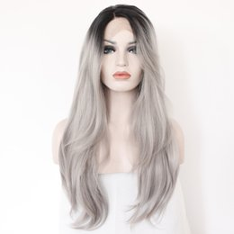 Wholesale Lace Front Grey Wig - 2 Tones Synthetic Lace Front Wig Gray Grey Silver Ombre Hand Tied Wavy Wigs Dark Roots Heat Resistant Fiber Hair