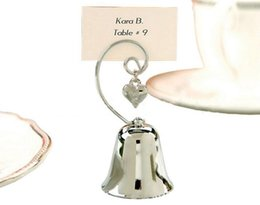 Wholesale Wedding Bell Place Cards - Charming Chrome Heart Bell Place Card Photo Holder with Dangling Heart Charm Baby Shower Favors Creative gift LLFA