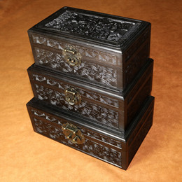Wholesale Carved Jade Accessories - 3pcs African Blackwood Ebony wooden boxes soild wood jewelry storage case for jade necklace beads bangle beautiful upscale gift box