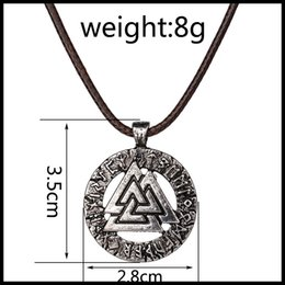 Wholesale triangle necklace pendant men - 2016 Mysterious Triangle viking runes amulet pendant neckalces for men women zinc alloy fashion jewelry free shipping 161585