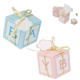 Wholesale Printed Paper Tags - 50pcs Letter Printed Wedding Favor Candy Box with Ribbon & Tag Baby Shower Favor Boxes
