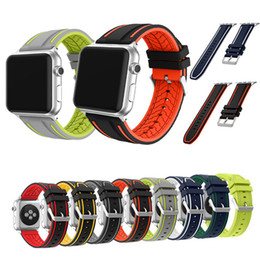 Wholesale Apple Rubber Band - New band for Apple watches 1 2 38mm Sports belt for iWatch 42mm Silicone Replacement Band Removable Stainless Steel Adapter