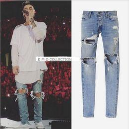 Wholesale Straight Loose Jumpsuit - Mens Jumpsuit Designer RedLine Rock Star Justin Bieber Kanye West Skinny Ripped Denim Designer Jeans High Quality Fear Of God