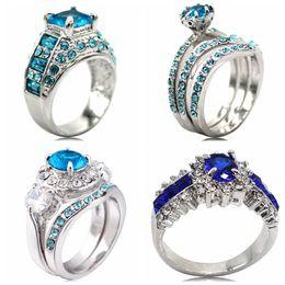 Wholesale Diamond Aquamarine Engagement Rings - Size 5-11 925 Sterling Silver Princess Cut Blue Sapphire Diamond Aquamarine Wedding Engagement Ring Bridal Halo Propose Anniversary