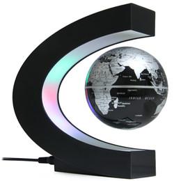 Wholesale Levitation Magnetic - Wholesale- Novelty C Shape LED World Map Floating Globe Magnetic Levitation Light Antigravity Magic Novel Lamp Birthday Home Dec Night lamp