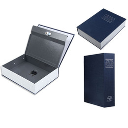 Wholesale Storage Box S - Free Shipping Dictionary Style Blue Security Cash Money Safe Storage Box Case Size S Jewellery Locker Box Cash Secure Hidden order<$18no tra