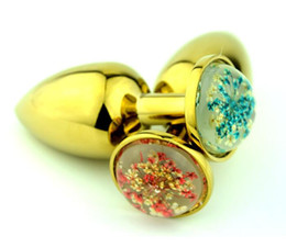 Wholesale Golden Stainless Steel Butt Plug - 2 size golden color Stainless Steel Attractive Butt Plug rectal suppository anal plug golden routine (the stars) PJ04