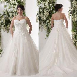 Wholesale Lace Aline Sweetheart Wedding Dress - vintage plus size 2016 wedding dresses applique sweetheart lace up back tulle aline wedding dress bridal gowns sweep train gowns