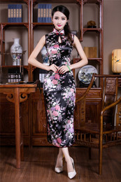 Wholesale China Clubs - Free shipping Sleeveless Faux silk long cheongsam dress evening Dresses Traditional chinese China dress sexy Qipao dresses 4 color