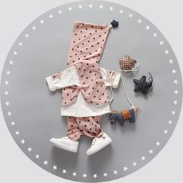 Wholesale Three Years Girls Clothes - Hot Sale Baby Dot Clothing 3 Pieces Set 2016 Autumn Kids Boutique Clothing Age 1-4 Years Baby Girls Tops Pants Outfits