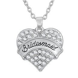 Wholesale Rhinestone Bridesmaid Necklaces - Hot Selling 30pcs lot Zinc Alloy Rhodium Plated Carve Word Bridesmaid Heart Charms With White Rhinestone Fantastic Necklaces For Women