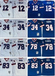Wholesale Kelly Smith - men Retired Player 12 Jim Kelly 34 Thurman Thomas Jerseys Vintage 78 Bruce Smith 83 Andre Reed Jersey Blue White Throwback Stitched Jersey