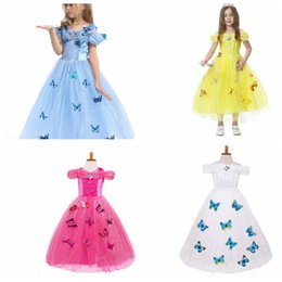 Wholesale Chinese Princess Girl Costume - Cinderella Princess Cosplay Costume Kids Girls Party Fancy Dress Butterfly princess Dresses Kids Party Dress KKA2822