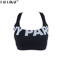 Wholesale Parks Prints - Wholesale-Short Summer Tops 2016 Women Fitness Halter IVY Park Bra Crop Top Woman Sexy Beyonce Black White Sport Gym Tank Top SWL0218