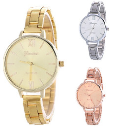 Wholesale Geneva Watches Colors - Women steel watches Alloy luxury watch Thin strap Gold silver quartz watch Geneva fashion wrist watches for women 3 colors