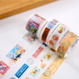 Wholesale Decorative Stamp Set - Wholesale-4 pcs set Vintage Stamp washi tape DIY decorative scrapbook masking tape office adhesive tape stationery school supplies