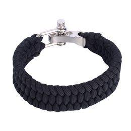 Wholesale Camping Cords - 8 Color Para Cord Rope Outdoor Survival Bracelet Camping Steel Shackle Buckle Climbing Rope Rescue Cord Bracelet Steel Shackle BuckWholesale