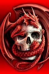 Decorazioni di drago rosso online-Pittura diamante diy ricamo 5d drago rosso cranio punto croce di cristallo piazza casa camera da letto decorazione di arte della parete decor regalo mestiere