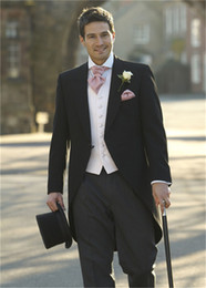 Wholesale Mens Formal Morning Suits - Wholesale-Morning Style One Button Black Groom Tuxedos Groomsmen Mens Wedding Suits Formal Dress (Jacket+Pants+Vest+Tie) NO:108