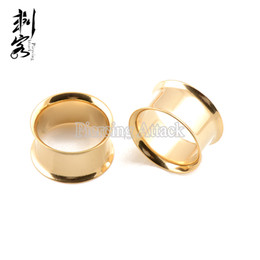 Wholesale Ear Plugs Tunnel Gold - Free Shipping Wholesale Big Gauge Gold Titanium Anodized Double Flared Ear Plug Tunnel Lot of 10pcs 16mm-25mm