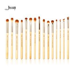 Wholesale Beauty Buffer - Jessup Brand 15pcs Beauty Bamboo Professional Cosmetics Brushes Set Make Up Brush Tools Kit Eye Shader Liner Crease Definer Buffer