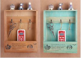Wholesale Hanger Products - Zakka 22*8*27cm Wooden Home Products Decoration Sundries Keys Storage Holders Organizer Jewelry Box Wall Hanger Display Rack with 3 Hooks