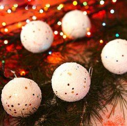 Wholesale Snowball Christmas Tree Ornaments - 6pc Diameter Christmas Snowball Balls Party Ornaments Christmas Tree Hanging Christmas Decorations for Home GM367