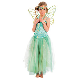 glitter butterflies Promo Codes - children girls fairy tale glitter green fairy costume with butterfly wing and hairband ballet dance dress fairy tale dress free shipping