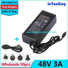 Wholesale 48v Lcd - 50pcs AC 100-240V To DC 48V 3A Power Supply 2A Adapter For LED Strip Light Display LCD Monitor with US EU AU UK Cord Cable
