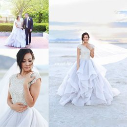 Wholesale outdoor short wedding dress - Modest Outdoor Beach Wedding Dresses Ball Gown with Short Sleeves Sparkly Beading Ruffles Organza Scoop Neck 2016 Boho Bridal Wedding Gowns