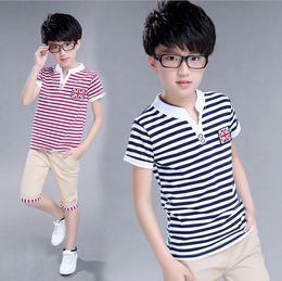 Wholesale Wholesale For Kids T Shirts - Summer kids clothes suit stripe T-shirt+short pants 2 pieces suit boys flag pattern clothes sets 100% cotton for 8~16Y kids