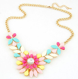 Wholesale Trend For Chain Jewelry - Wholesale-New 2015 Hot Pendant Necklace Women Jewelry Trends Colar Statement Fashion Necklaces Flower Pendants For Gift Party