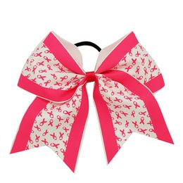 Wholesale Print Elastic Hair - 30Pcs lot Breast Cancer Awareness Cheer Bows For Girl Grosgrain Ribbon Cheer Bow With Elastic Band