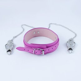 Wholesale Neck Nipple Bondage Toy - Adult Sex Products Pink Collar + Nipple Clamps Necklace Neck Bondage Restraints Clamps Stimulator Fetish Erotic Toys For Women