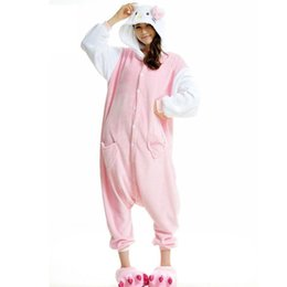 Wholesale Adult Pink Onesie - Animal Anime CUTE pink KT Cat Hello Kitty Onesie Adult Unisex Cosplay Costume Pajamas All In One Christmas Party KT Cartoon Kitty Jumpsuit