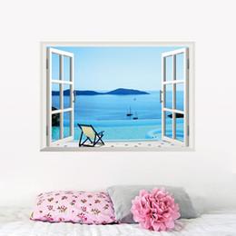 Adesivi da spiaggia per pareti online-Beach Resort 3D Window View Rimovibile Wall Sticker Art Decalcomania del vinile Decor Murale