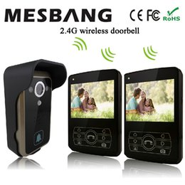Wholesale Install Wireless Camera - 2017 new black olor 2.4G wireless video door phone one camea two 3.5 inch monitor easy to install free shipping