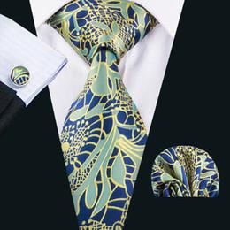Wholesale Italian Parts - Silk Tie Men Italian Ties Blue Floral Fashion Neckties Handkercheif Cufflinks Gift Set for Wedding Part Business N-1638