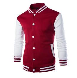 Wholesale Varsity Jacket Designs - Wholesale-New Men Boy Baseball Jacket Men 2017 Fashion Design Wine Red Mens Slim Fit College Varsity Jacket Men Brand Stylish Veste Homme