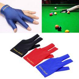 Три руки онлайн-Spandex Snooker Billiard Cue Перчаточный бассейн Левая рука открыта Три новых аксессуара для пальцев