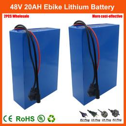 2019 gros chargeurs de batterie au lithium-ion 2PCS En Gros 48 V Vélo Électrique Batterie 48V 20AH Lithium Ion Scooter Batterie avec 30A BMS et 54.6V 2A Chargeur Livraison gratuite promotion gros chargeurs de batterie au lithium-ion