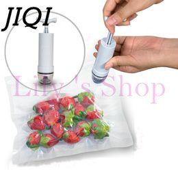 Wholesale Reusable Packaging Bags - Jiqi Household Vacuum Sealer Fruits Storage Handle Pump Reusable Vacuum Fresh -Keeping Food Saver Packages 20pcs Three Size Bags