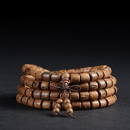 Wholesale Wholesale Wooden Beaded Bracelets - 108 *0.8cm Wenge Prayer Beads Tubular Tibetan Buddhist Mala Buddha Bracelet Rosary Wooden Bangle Jewelry