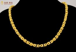 Wholesale China 24k Gold Chain - Fast Free Shipping Fine 24K gold jewelry gold necklace alluvial gold jewelry men domineering overlord faucet necklace wide 6mm length 50cm
