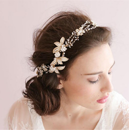 Wholesale Fascinator Gold - So Beautiful Gold Headwear For Wedding embroidery Lace Flower Bridal Accessories Fascinator Hat Head Piece Wedding Charming Tiaras Cheap