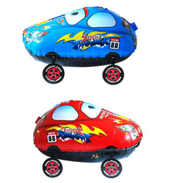 Wholesale Balloon Cars - 100pcs 55*25cm Cartoon Red Blue Car Walking Balloon Inflatable Foil Helium Air Balloons Christmas Party Classic Toys ZA1243